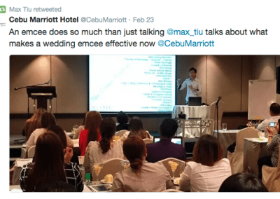 Speaking as a resource person for Cebu Marriott Hotel