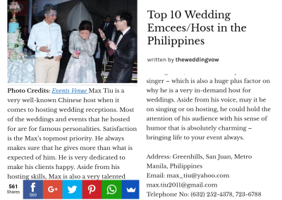 Top 10 Wedding Emcees in the Philippines